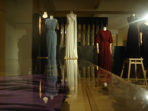 Red Dress: Dress for indoors in silk jersey; Spring 1944 - Example of a 'primitive' drape by Grès. The dress became so famous that Madame Grès recreated it in the 1970's in white, published in Vogue